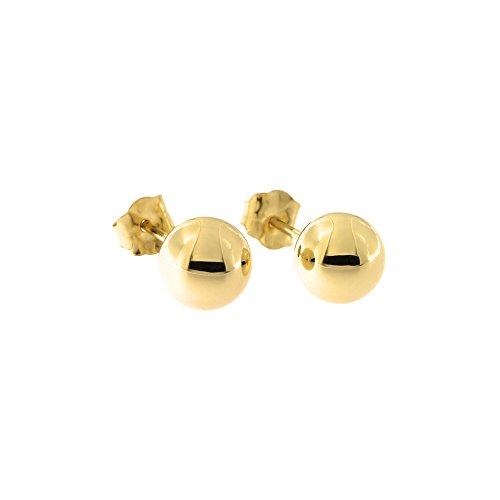 14 Karat Yellow Gold Round Bead Ball Stud Earrings, 6mm