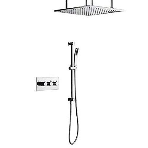 SDRFSWE Contemporary Wall Mounted Rain Shower Handshower Included Thermostatic Ceramic Valve Three Handles Four Holes Chrome, Shower Faucet