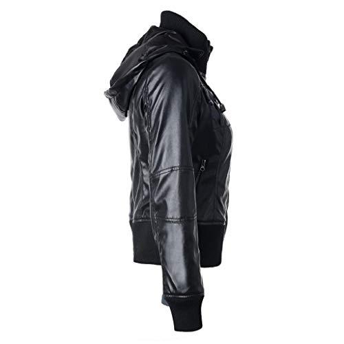 Donna Nero Slim In Biker Pelle ❤ Giacca Da Di Moto Vicgrey Giubbotto Giacchetto Chiodo wIBOqnf