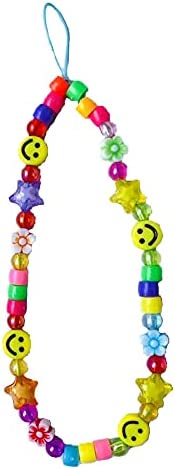 Smiley Face Beaded Phone Charm Strap Y2K Phone Charms Indie Phone Chain Y2K Accessory for Women Girls