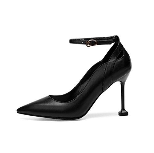 Mince Stilettos et talons Confortable Printemps Couleur Europe été Buckle Pointues talon à et Chaussures Noir 34 hauts femmes taille pour Noir HJHY® Chaussures Amérique 8pUvU