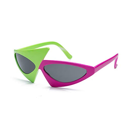 Omgouue Asymmetric 80's Party 2-Color Pink and Green Roy purdys Hip hop Fashion Glasses Plastic,One of Pack -