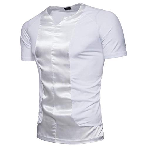 YOcheerful Clearance Deals Men Shirt Tee Top Blouse Short Sleeve Sweatshirt Knit (White,M) from YOcheerful