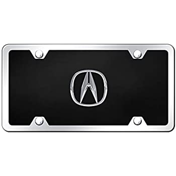 Au-Tomotive Gold INC Acura 3D Name Black Acrylic License Plate with Chrome Frame Kit