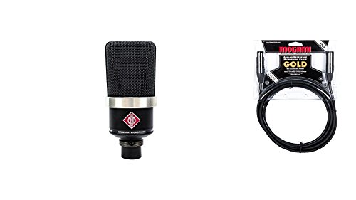 Neumann TLM 102 Black Microphone Bundle with Premium 15-foot XLR Mogami Gold Cable (2 Items) ()
