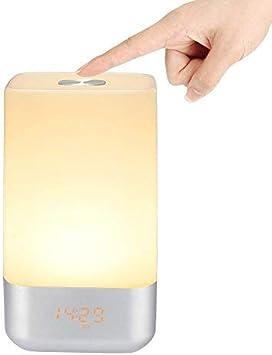 VADIV Lámpara Despertador Sensor Táctil Lámpara de Mesa con Ilminiación Lámpara de Noche Luz Suave Nocturna Despierta Varias Tonalidades de Luz y 3 brillos USB Recargable Para Dormitorio Lectura