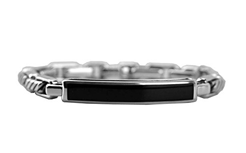 DAVID YURMAN SOLID ST. SILVER BLACK ONYX 4mm MODERN CABLE ID BRACELET 24B (David Yurman Id Bracelet)
