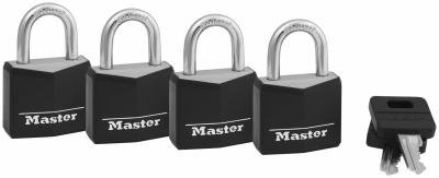 Master Lock 131Q 4-Pack 1-3/16 Inch Solid-Brass Body Black Padlock
