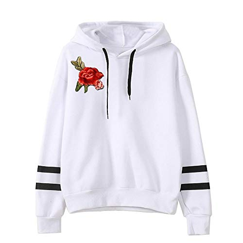 HGWXX7 Women Sweatshirt Rose Embroidery Applique Long Sleeve Jumper Hooded Pullover Hoodie(S,White)