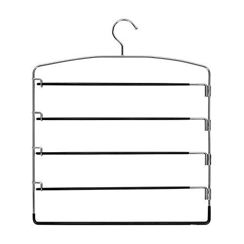 Corodo Black Pants Hangers 3 Pack, No Slip Multi Pant Hanger for Jeans Trousers, Skirts, Scarf, 5 Tier Swing Arm Pant Rack
