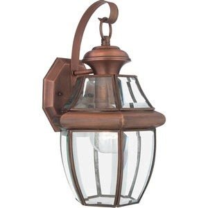 Quoizel NY8316AC Newbury Outdoor Wall Lantern Wall Mount Lighting, 1-Light, 150 Watt, Aged Copper (14