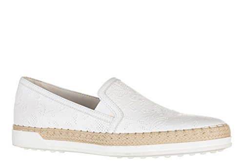 Tod's slip on femme en cuir sneakers caoutchouc Rafia tv bordino blanc