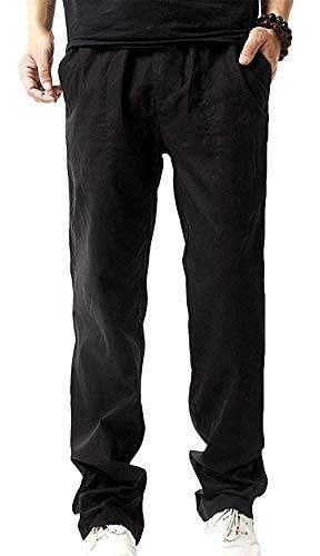 Lino Bolsillos Laterales Sueltos Battercake Playa Para De Hombres Pantalones Cómodo Negro Casuales TwnR7Xq