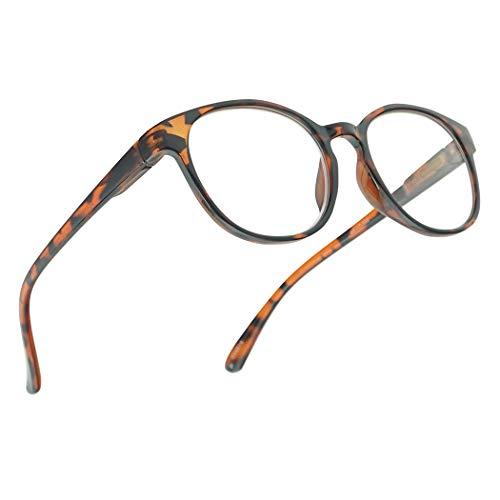 Stylish Round Horn Rim Magnification Reading RX Glasses Optic Strength +1.00 Thru +4.00, with Spring Hinge (Tortoise, ()