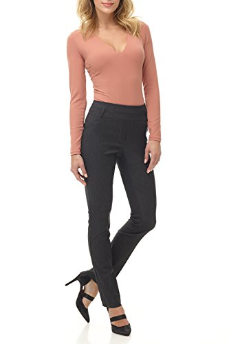 Rekucci Women's Ease in to Comfort Fit Stretch Slim Pant (16SHORT,DK Charcoal) ()