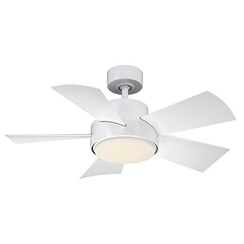 Elf Indoor Outdoor 5-Blade Smart Ceiling Fan 38in Matte White with 3500K LED Light Kit and Wall Control works with iOS Android, Alexa, Google Assistant, Samsung SmartThings, and Ecobee