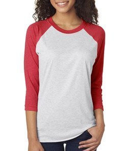 (Next Level Apparel 6051 Unisex Tri-Blend 3 By 4 Sleeve Raglan - Vintage Red & Heather White, Extra Large)