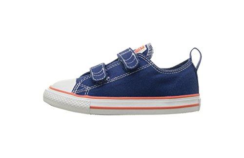(Converse Baby Chuck Taylor All Star 2V Seasonal Low Top Sneaker, Hyper Royal/Bright Poppy/White, 3 M US Infant)