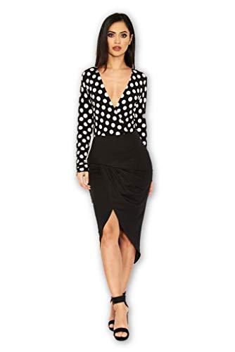 AX Paris Women's Polka Dot Contrast Wrap Dress(Black, Size:6)