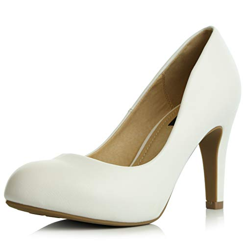 DailyShoes Women's Comfortable Cushioned Slip On Low Heels Round Toe Dress Pumps Shoes, White PU Leather, 6 B(M) US