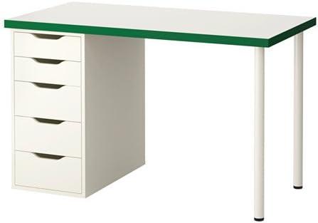 Ikea - Mesa de Ordenador con cajones, Color Blanco y Verde (47 1/4 ...