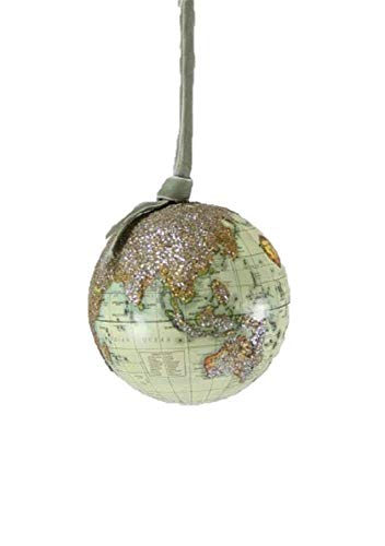Cody Foster & Co Old World Map Globe Glass Hanging Ornaments (Natural) ()