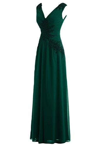 ivyd ressing Mujer Cuello En V a de línea perlas Punta applikation Prom vestido de ropa para vestido de noche Verde