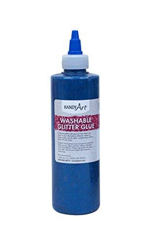 (Handy Art Washable Glitter Glue 8 ounce, Blue)