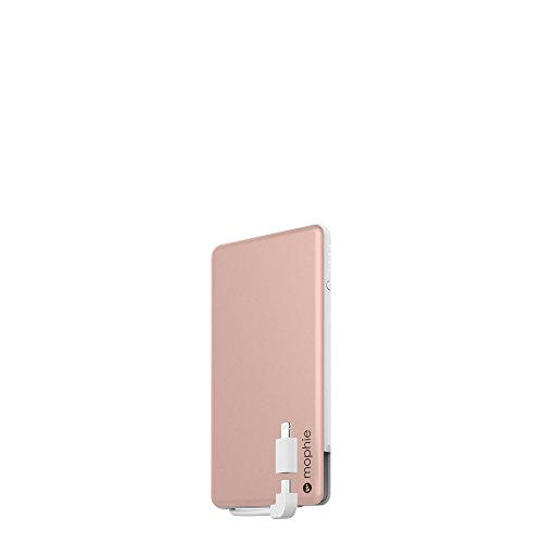 - mophie powerstation External Battery Pack with Built-in Micro USB & MFI Lightning Cable for Smartphones and Tablets (Certified Refurbished) (Rose Gold, 4,000mAh)