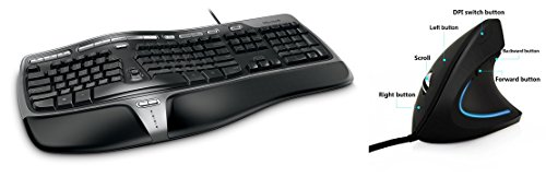 Microsoft Natural Ergonomic Keyboard 4000 for Business - Wired + Ergonomical Mouse by Ergy - Optical USB Wired Vertical Mouse - 2.4 Ghz, 6 Buttons-Adjustable DPI
