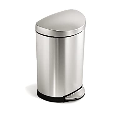 simplehuman Semi-Round Step Trash Can, Stainless Steel, 10 L / 2.6 Gal