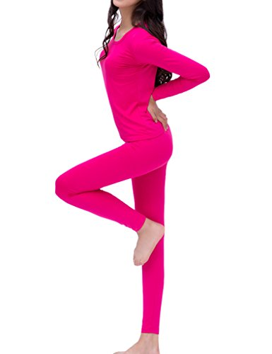 PHOENISING Women's Thermal Underwear Long Johns Top and Bottom Set