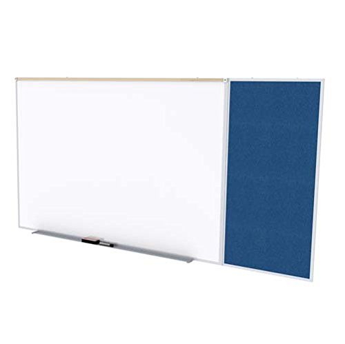 Ghent SPC412C-V-195 4 ft. x 12 ft. Style C Combination Unit - Porcelain Magnetic Whiteboard and Vinyl Fabric Tackboard - Navy by Ghent