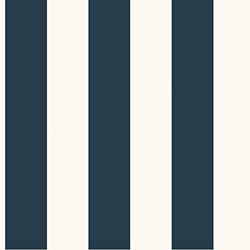 York Wallcoverings SA9174 Ashford Stripes 3-Inch Stripe Wallpaper, Blue/White (Bold Stripe Wallpaper)