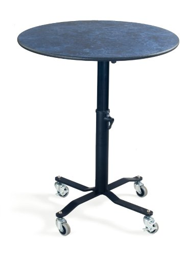 AmTab Mobile Condiment with Adjustable Height, Flip Top/Grey Glace Laminate Top/Black Dyna-Rock, 30