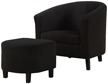 monarch specialties black padded microfiber accent chair and ottoman