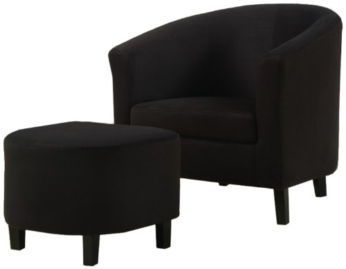 Monarch Specialties Black Padded Microfiber Accent Chair and Ottoman (Black Accent Ottoman)