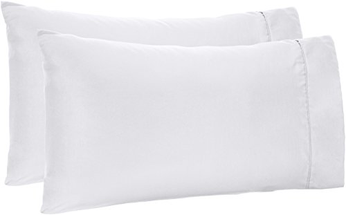 AmazonBasics Microfiber Pillowcases - 2-Pack, Standard, Bright White