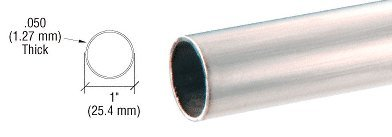 Brushed Stainless 1'' Diameter Round .050'' Tubing - 98'' by CR Laurence