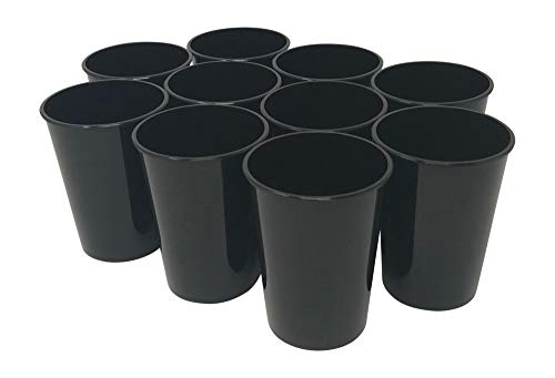 CSBD 10 Pack Blank 12 oz Plastic Kids Cups Bulk Tumblers - Reusable or Disposable, Made In USA, Great For Customization, Monograms, Marketing, DIY Projects, Weddings, Parties, Events (10, Black) -