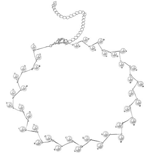 Jude Jewelers Women Delicate Lucky Dress Cocktail Party Statement Chain Necklace (Pearl (Silver))