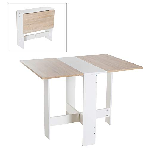 HOMCOM Particle Board Wooden Folding Dining Table Writing Computer Desk PC Workstation Space Saving Home Office Oak & White