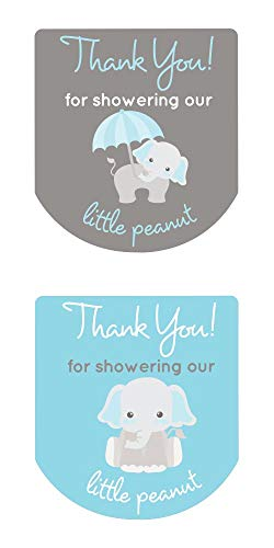 Labels for Hand Sanitizer Thank You Stickers Gray Elephant Set of 90 (Blue)