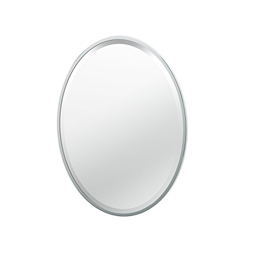 Gatco 1820 Flush Mount Framed Oval Mirror, 27.5-inch, Chrome