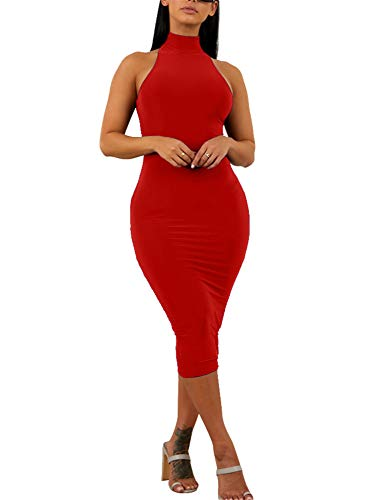 - GOBLES Women's Sexy Halter High Neck Elegant Sleeveless Bodycon Midi Club Dress Red