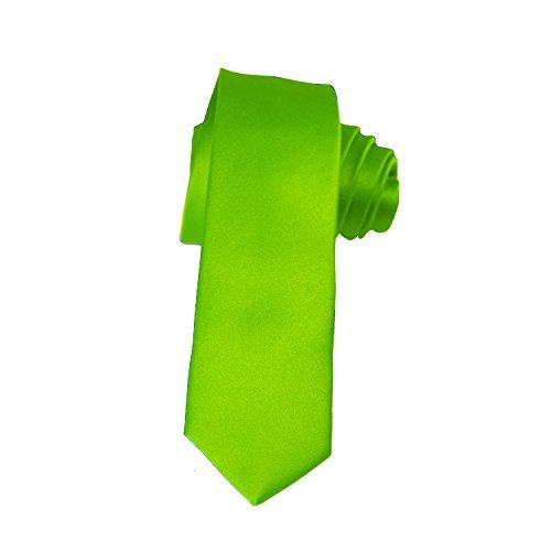 Skinny Lime Green Tie 2 Inch Solid Mens Tie Satin by K. Alexander ()