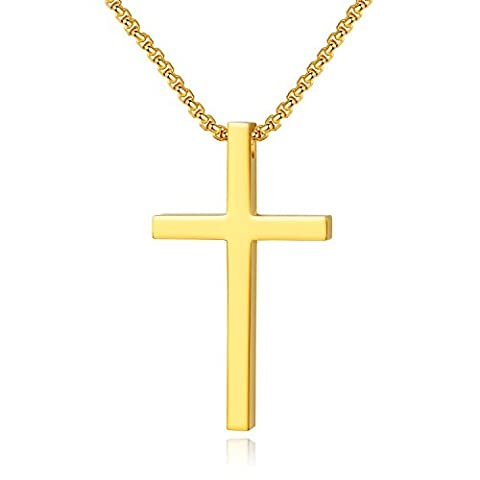 Reve Simple Stainless Steel Cross Pendant Chain Necklace for Men Women, 20''-22'' Link Chain (Gold:1.71.02'' Pendant+22'' Rolo (Gold Cross Stainless Steel)