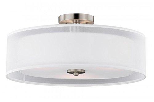Vaxcel C0114 Nuage Semi-Flush Ceiling, Satin Nickel Finish ()