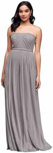 6e9a7c157bcb David's Bridal Long Mesh Style-Your-Way 6 Tie Bridesmaid Dress Style F19515