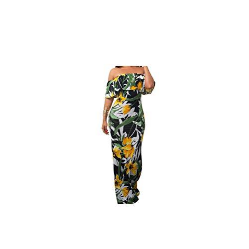 - Women Elegant Maxi Long Dress Short Sleeve Slash Neck Strapless Sexy Party Dress Summer Colorful Print,02,M